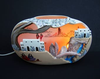 Native American Adobe House Pottery Art Lighted Electric Lamp Night Light Signed J&H and Dated