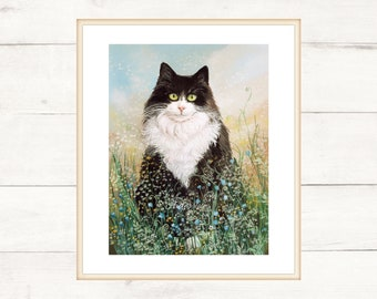 Black and white cat among the flowers of a fantasy garden. Print 21x29 cm