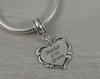 Mother of the Groom European Dangle Bead Charm - Sterling Silver Mother of the Groom Charm for European Bracelet