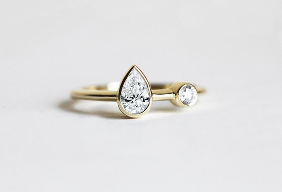 gold ring hearts diamond two tone wedding in engagement rings