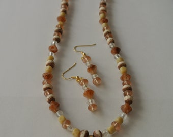 Brown, Light Brown and White Necklace with Matching Earrings
