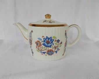 Vintage Teapot, Ellgreave Woods & Sons, English Ironstone, Blue Floral, Gold Trim