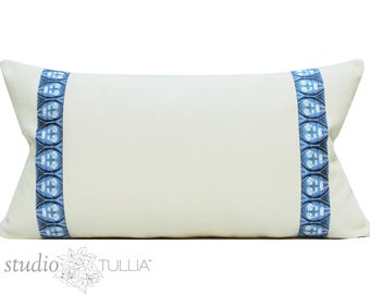 Blue and White Pillow Cover - Amy Butler - natural cotton with ribbon banding - tulip - 14x26 - lumbar - ready to ship