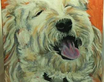 Custom Pet Portraits-An Original Custom Painted Pet Portrait of a Special Dog, Cat or any Pet on Canvas- Meet Bailey!