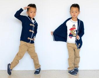 Boy 3-pcs Toggle Cardigan Pants Sweater Set