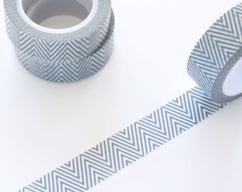 Grey Thin Chevron Washi Tape 15mm/ V Shape Masking Tape/ Deco Tape