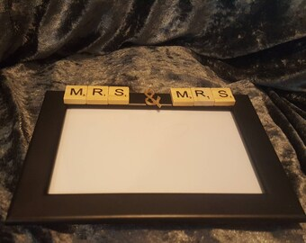 Mrs & Mrs Black  or White Wooden PhotoFrame with Scrabble Letters and Hessian