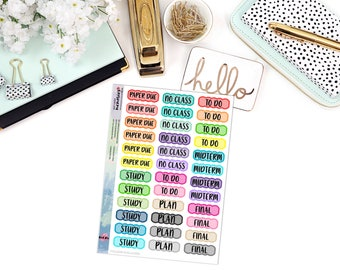 FUNCTIONAL COLLEGE STYLE Paper Planner Stickers - Mini Binder Sized/3 Hole Punched