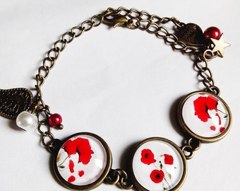 Bracelet cabochon, poppies, flowers spring summer red white glass cabochon
