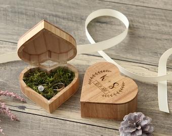 Heart Wedding Ring Box, Engagement Ring Proposal Box, Wood Ring Bearer Box, Engraved Ring Holder, Rustic Wedding