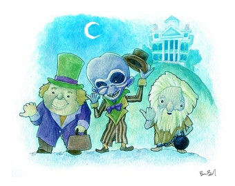 Haunted Hitchhikers Watercolor Print