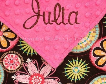 Personalized Baby Girl Blanket. Baby Girl Blanket, Minky Dot and Carnival Bloom, Photo Prop, Blanket for Baby Girl, Baby Shower Gift 28x30