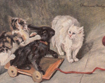 Antique Nister Series Postcard Cats Playing With A Rabbit Pull Toy Delightful