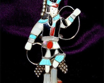 RARE Size 8 Zuni Indian Kachina RING Handmade and SIGNED By the Maker