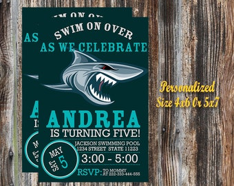 Shark Invitation,Shark Birthday Invitation,Shark Birthday Party Invitation,Shark Printable,Shark Party,Digital Download,Personalized.