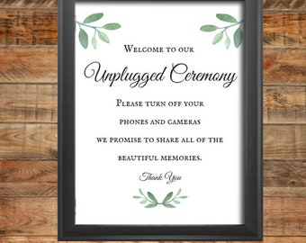 Greenery Unplugged Ceremony Wedding Sign, Printable, Instant Digital Download