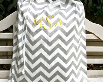 Gray Chevron Laundry Bag