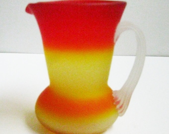 Pilgrim Amberina Pitcher Art Glass Pitcher Translucent Frosted Satin Glass Pitcher Hand Blown Glass Pitcher Peachblow Small Pilgrim Pitcher