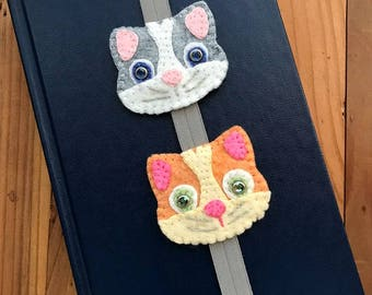 Wool Felt Elastic Stretch Bookmark With Cats