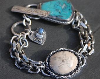 chrysocolla, fossil sand dollar, lapis lazuli, and sterling silver metalwork link bracelet