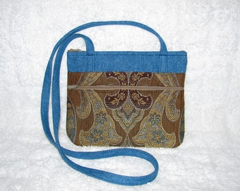 Small Purse Long Strap Gold, Brown, Blue Home Décor Fabric with Denim Accents and Strap - Womens Shoulder Bag - Denim - Handbags, Purses