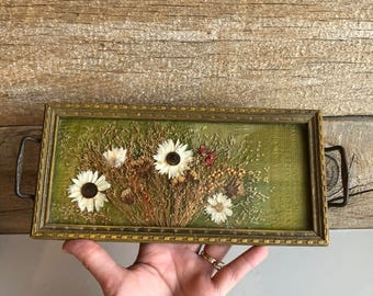 Dried flower tray with handles. Small glass tray with pressed dried flowers.