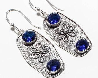 "Blue Sapphire Gemstone Handmade Jewelry Earrings 2.26"""