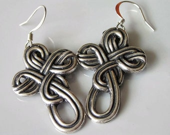 Celtic Cross Earrings Antiqued Silver Metal Brass Metal Stamping Celtic Knot Celtic Dangle Earrings Traditional Knot Design
