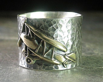 Biplane ring sterling silver and brass aviation ring, airplane ring sky fly - Cloud Dance