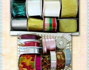 Christmas Ribbon Assortment, Lot of Twenty Spools, Wired, Metallic, Acetate, Velveteen, Tulle, Fabric, Gift Wrapping, Floral Supply/Crafting