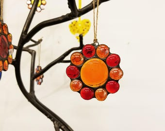 Stained Glass Flower Suncatcher with Red and Orange Iridized Petals and Orange Center Ornament, Window Decoration Friend Gift