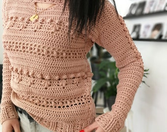 Crochet Sweater Pattern PDF - Overly Sweater - textured sweater pattern in English
