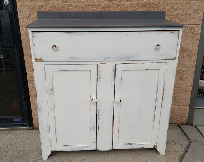 PICK UP ONLY,Vintage farmhouse storage cabinet, chest, vintage pantry, country cottage, rustic, distressed shabby chic, coffee bar, wine bar