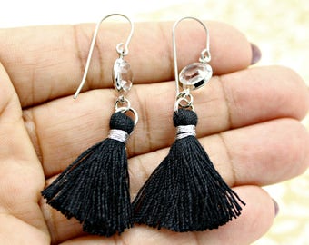 You Choose Color Black White Gray Tan String Tassle Earrings with Crystal