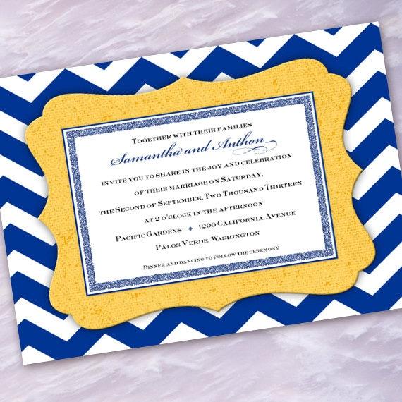 wedding invitations, chevron wedding invitations, cobalt wedding invitations, chevron bridal shower invitations, chevron bride, IN271