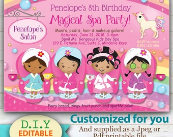 CUSTOMIZED Spa and Unicorn Invitation, Magical Pamper Party with Unique Twist! Brown skinned girls. Customized for your child's party.