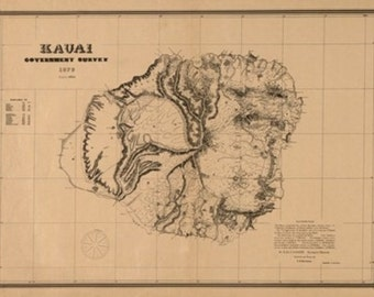 Kauai, Hawaii Panoramic Map - 1878 (Art Prints available in multiple sizes)