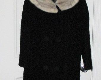 Vintage Miracurl Faux Persian Lamb Coat W/Fur Collar Sz M or Bust 48