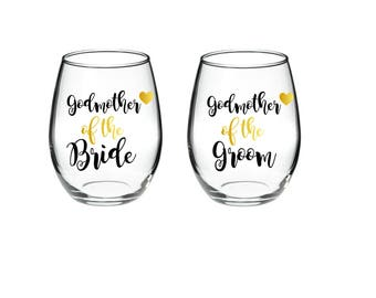 Godmother of the Bride - Godother of the Groom - Set of 2 - 15 oz stemless wine glasses