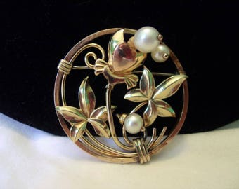 12 K Yellow Rose Gold Filled Vintage Genuine Pearl Heart Flower Circle Brooch Pin