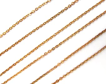 Vintage Red Brass Cable Chain Necklaces (4X) (18 inches) (C640)