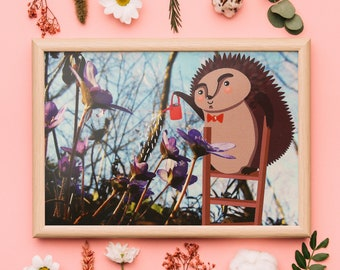 Hedgehog postcard illustration, spring flowers kids card, animal postcard, woodland postcard illustration