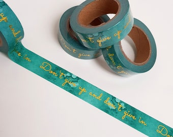 Gold Foil Teal Watercolour Washi Tape