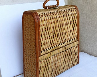 Rustic wine box vintage wine case wicker straw wooden wine crate wine ceremony Portuguese wine box cerca 1960s