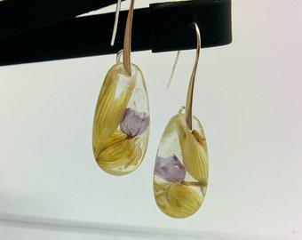 Seeds resin earrings- nature inspired jewelry- natural earrings- earrings- gift- spring earrings- gift for her- purple- drop earrings- love