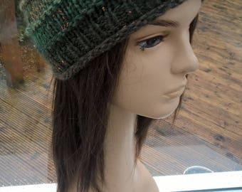 MIRKWOOD Glitter n Sparkle unique green brown copper beanie hat cap toque by irish granny