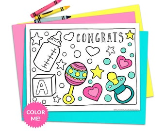 Baby Shower Activities, Pregnancy Coloring Page, New Baby, New Mom, New Dad, Printable Colouring Pages, Printables, Instant Download