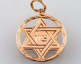 14K Yellow Gold Star of David Zion in Circle Judaica Pendant