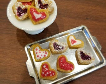 Miniature Valentine's day cookies 1:12 scale assorted polymer clay