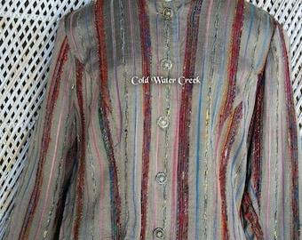Vintage ColdWater Creek Shirt ~ Embroidered Rainbow Stripes ~ Mandarin Collar ~ Petite Medium ~ Retro 1980s
